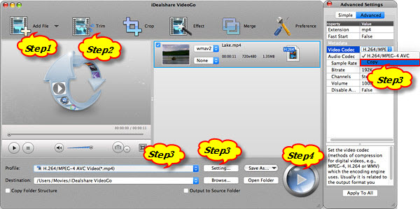 Trim Video MP4 files on Mac OS X